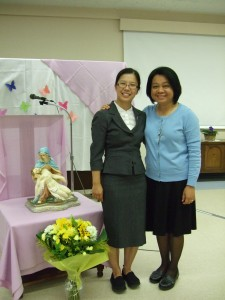 From the left: Sr. Mary Truong, SP Novice and Sr. Mae Valdez, SP, Vocation Director